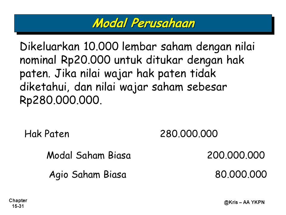 Chapter 15-31 @Kris – AA YKPN Hak Paten280.000.000 Modal Saham Biasa 200.000.000 Dikeluarkan 10.000 lembar saham dengan nilai nominal Rp20.000 untuk d
