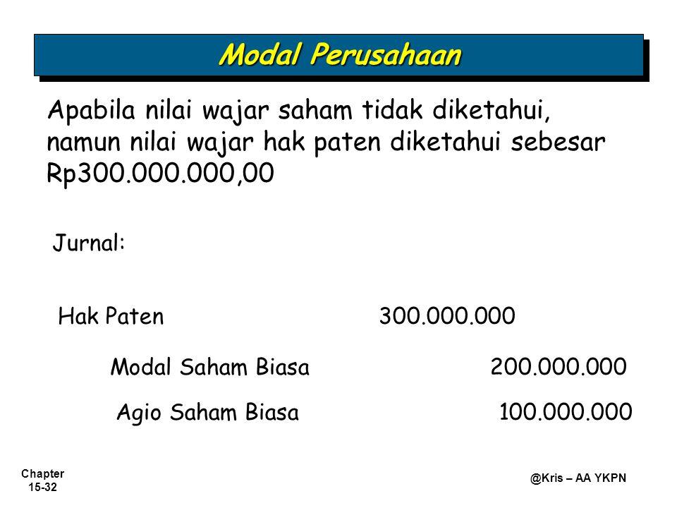 Chapter 15-32 @Kris – AA YKPN Hak Paten300.000.000 Modal Saham Biasa 200.000.000 Apabila nilai wajar saham tidak diketahui, namun nilai wajar hak pate