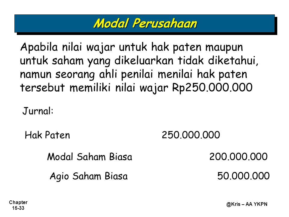 Chapter 15-33 @Kris – AA YKPN Hak Paten250.000.000 Modal Saham Biasa 200.000.000 Apabila nilai wajar untuk hak paten maupun untuk saham yang dikeluark