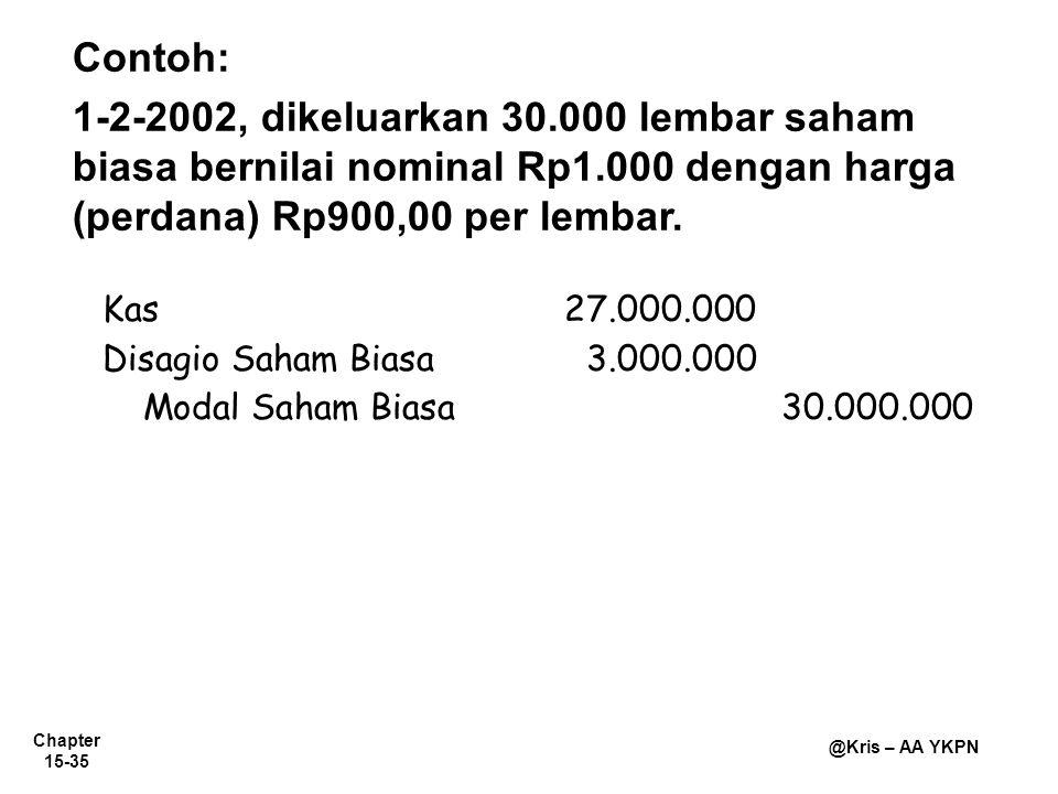 Chapter 15-35 @Kris – AA YKPN Contoh: 1-2-2002, dikeluarkan 30.000 lembar saham biasa bernilai nominal Rp1.000 dengan harga (perdana) Rp900,00 per lem