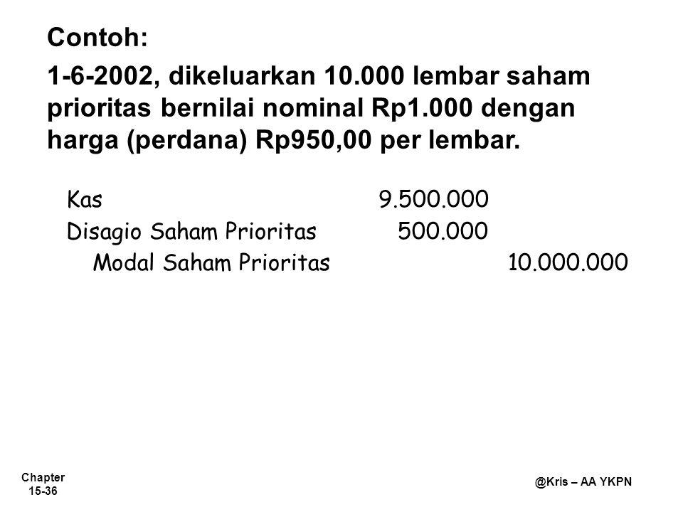 Chapter 15-36 @Kris – AA YKPN Contoh: 1-6-2002, dikeluarkan 10.000 lembar saham prioritas bernilai nominal Rp1.000 dengan harga (perdana) Rp950,00 per