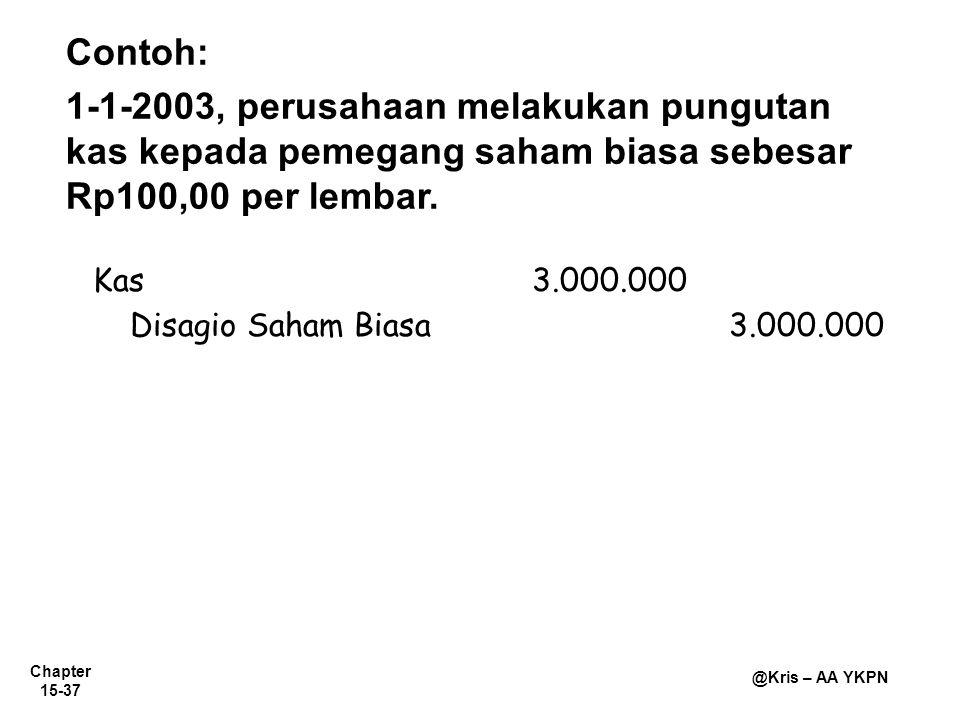 Chapter 15-37 @Kris – AA YKPN Contoh: 1-1-2003, perusahaan melakukan pungutan kas kepada pemegang saham biasa sebesar Rp100,00 per lembar. Kas3.000.00