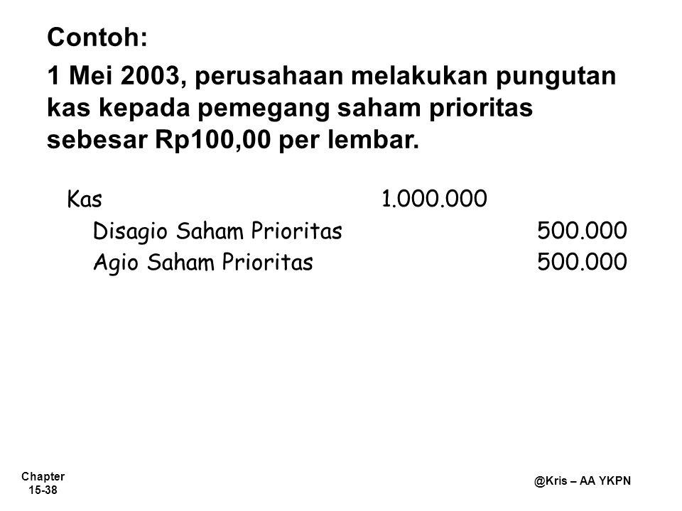 Chapter 15-38 @Kris – AA YKPN Contoh: 1 Mei 2003, perusahaan melakukan pungutan kas kepada pemegang saham prioritas sebesar Rp100,00 per lembar. Kas1.