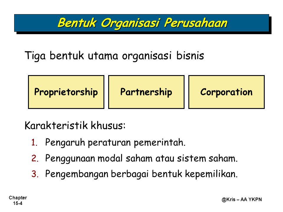 Chapter 15-4 @Kris – AA YKPN Tiga bentuk utama organisasi bisnis Bentuk Organisasi Perusahaan ProprietorshipPartnershipCorporation Karakteristik khusu