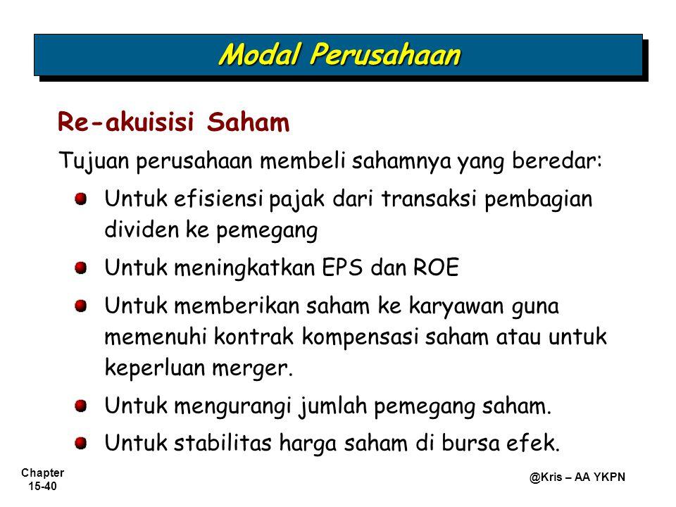 Chapter 15-40 @Kris – AA YKPN Re-akuisisi Saham Tujuan perusahaan membeli sahamnya yang beredar: Untuk efisiensi pajak dari transaksi pembagian divide