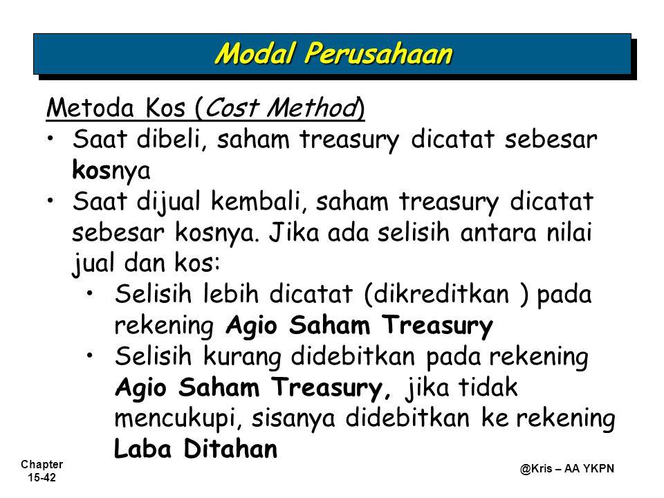 Chapter 15-42 @Kris – AA YKPN Metoda Kos (Cost Method) • •Saat dibeli, saham treasury dicatat sebesar kosnya • •Saat dijual kembali, saham treasury di