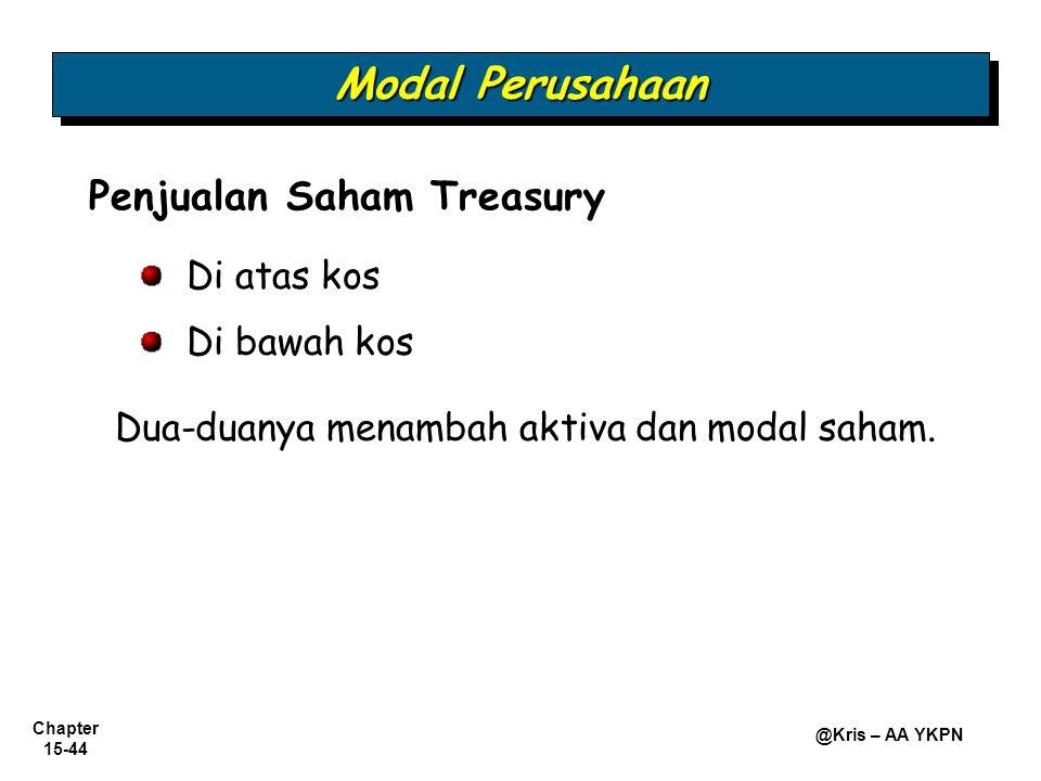 Chapter 15-44 @Kris – AA YKPN Penjualan Saham Treasury Di atas kos Di bawah kos Dua-duanya menambah aktiva dan modal saham. Modal Perusahaan
