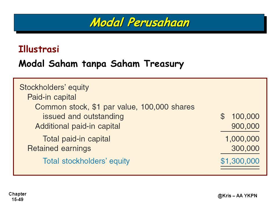 Chapter 15-49 @Kris – AA YKPN Illustrasi Modal Saham tanpa Saham Treasury Modal Perusahaan