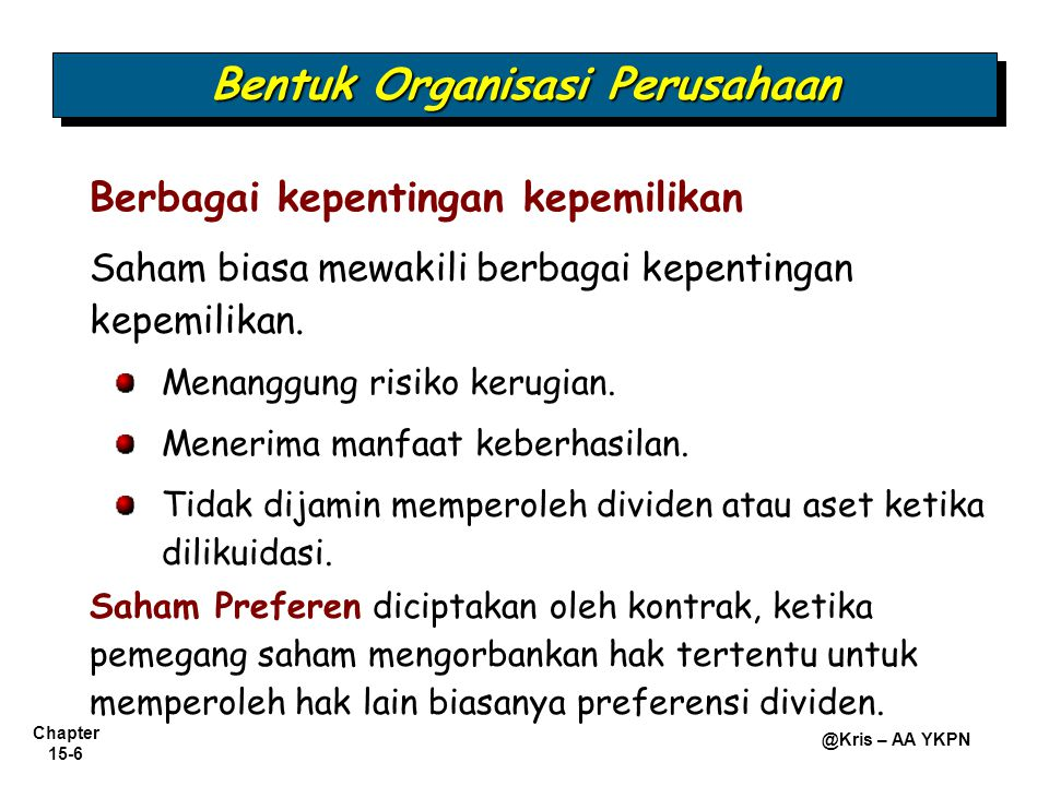 Chapter 15-17 @Kris – AA YKPN Pembatalan Pesanan Saham Perlakuan Uang Muka Pesanan Saham.