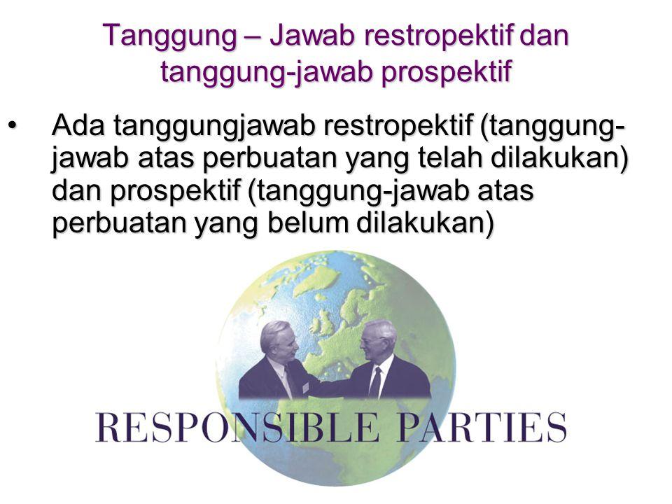 Tanggung – Jawab restropektif dan tanggung-jawab prospektif •Ada tanggungjawab restropektif (tanggung- jawab atas perbuatan yang telah dilakukan) dan