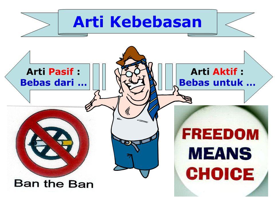 Yang Membatasi Kebebasan •Faktor lingkungan: mis: di Indonesia kita tidak bisa main ski karena tidak ada salju, (walau bebas meluncur), •Lingkungan sosial- ekonomi juga bisa membatasi kebebasan kita.