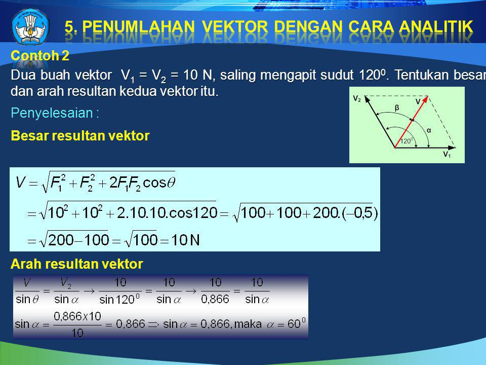 b.Kedua vektor mengapit sudut 60 0 Besar resultan vektor Arah resultan vektor