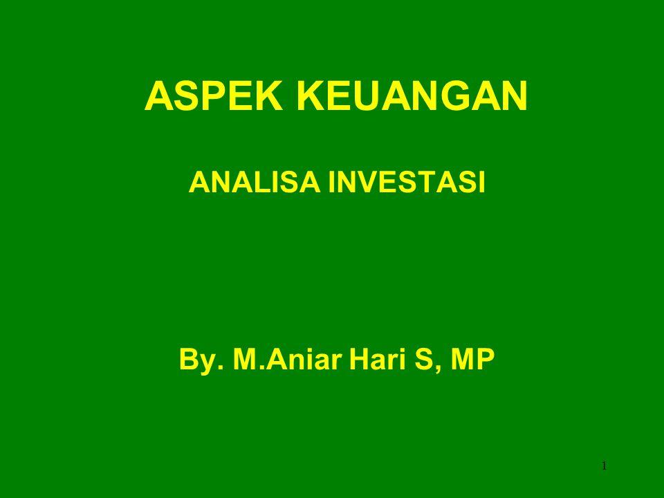 1 ASPEK KEUANGAN ANALISA INVESTASI By. M.Aniar Hari S, MP
