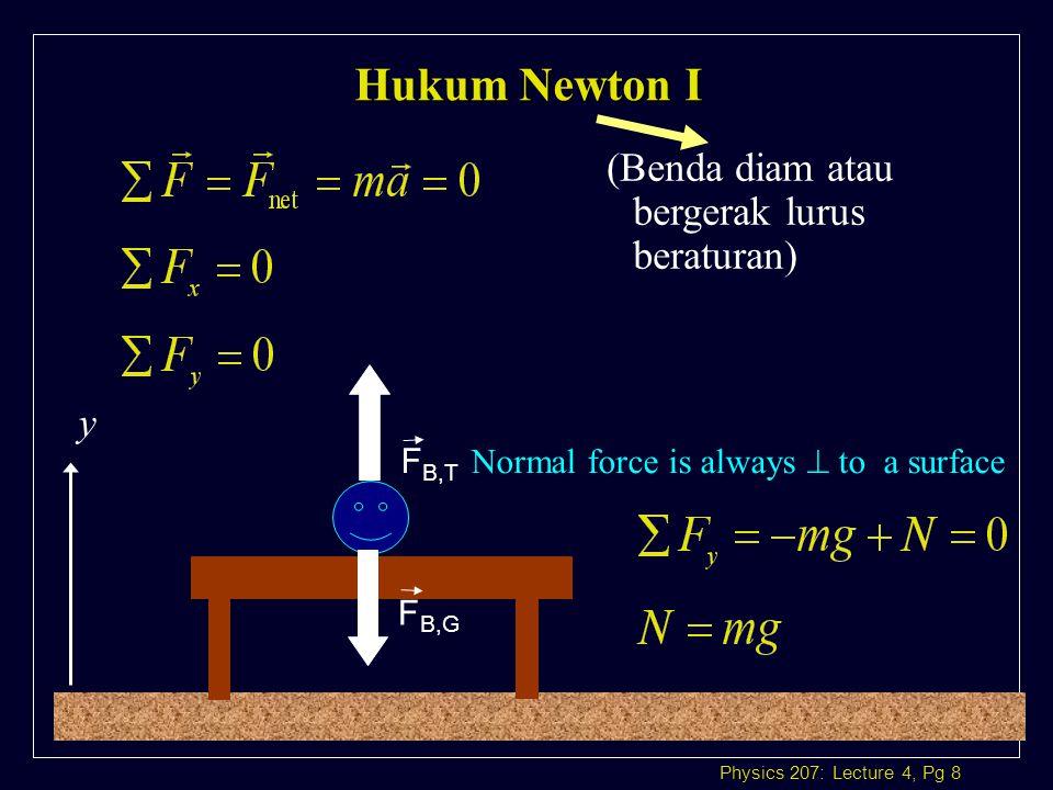 Physics 207: Lecture 4, Pg 19 Jika balok meluncur (tanpa gesekan) l Komponen gaya-gaya yang bekerja:  F x i  F x i: ma x = mg sin  a x = g sin   F y j  F y j: ma y = 0 = N – mg cos  N = mg cos  i j gmggmg N mg sin  mg cos   axmaxaxmax 