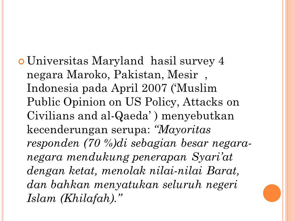 Universitas Maryland hasil survey 4 negara Maroko, Pakistan, Mesir, Indonesia pada April 2007 ('Muslim Public Opinion on US Policy, Attacks on Civilians and al-Qaeda' ) menyebutkan kecenderungan serupa: Mayoritas responden (70 %)di sebagian besar negara- negara mendukung penerapan Syari'at dengan ketat, menolak nilai-nilai Barat, dan bahkan menyatukan seluruh negeri Islam (Khilafah).