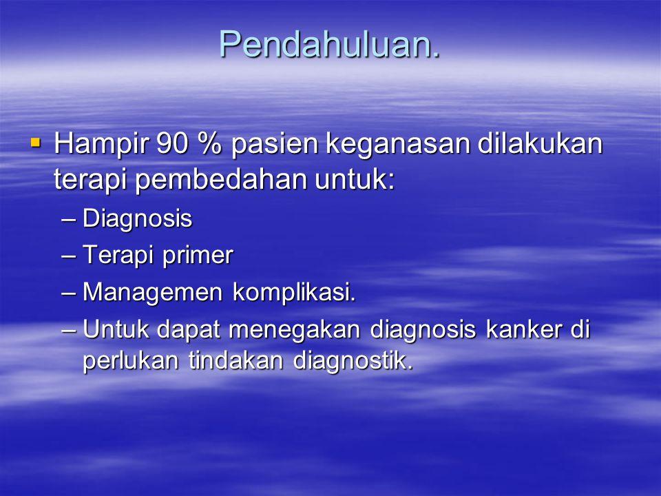 Pendahuluan.  Hampir 90 % pasien keganasan dilakukan terapi pembedahan untuk: –Diagnosis –Terapi primer –Managemen komplikasi. –Untuk dapat menegakan