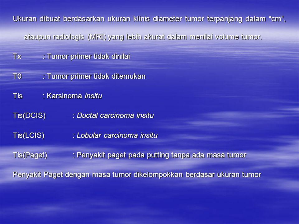 T1: Tumor dengan ukuran terpanjang 2 cm atau kurang T1mic: Ada mikroinvasi ukuran 0,1 cm atau kurang T1a: Tumor dengan ukuran lebih dari 0,1 cm sampai 0,5 cm T1b: Tumor dengan ukuran lebih dari 0,5 cm sampai 1 cm T1c: Tumor dengan ukuran lebih dari 1 cm sampai 2 cm T2: Tumor dengan ukuran terpanjang lebih dari 2 cm sampai 5 cm T3: Tumor dengan ukuran terpanjang lebih dari 5 cm T4: Tumor dengan ukuran berapa pun dengan infiltrasi/ekstensi pada dinding dada atau kulit Catatan : Dinding dada termasuk iga/kosta, otot interkostalis dan otot serratus anterior, tetapi tidak termasuk otot pektoralis (eksterna ataupun interna)