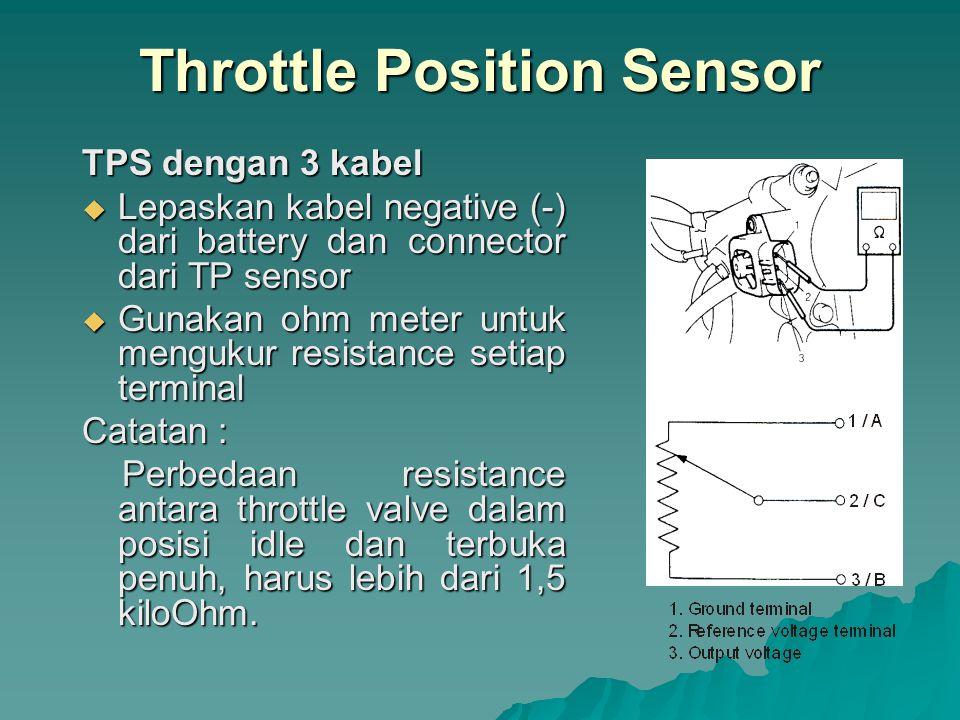 TPS dengan 4 kabel  Lepaskan kabel negative (-) dari battery dan connector dari TP sensor  Gunakan ohm meter untuk mengukur resistance setiap terminal