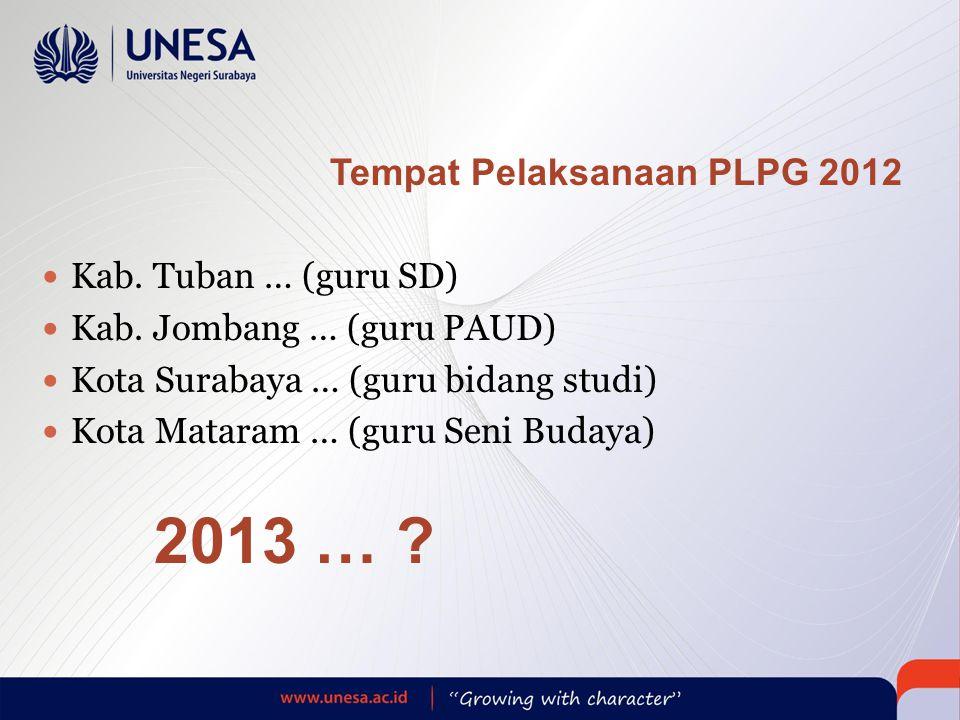 Tempat Pelaksanaan PLPG 2012  Kab.Tuban … (guru SD)  Kab.