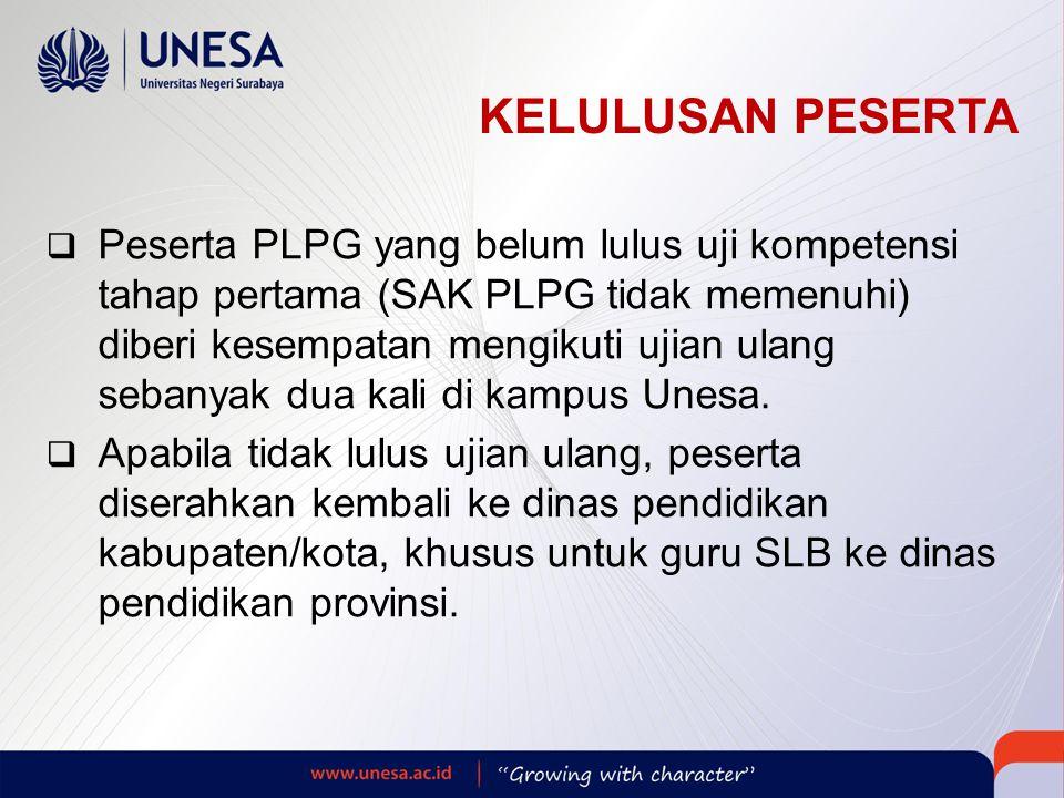 KELULUSAN PESERTA  Peserta PLPG yang belum lulus uji kompetensi tahap pertama (SAK PLPG tidak memenuhi) diberi kesempatan mengikuti ujian ulang sebanyak dua kali di kampus Unesa.