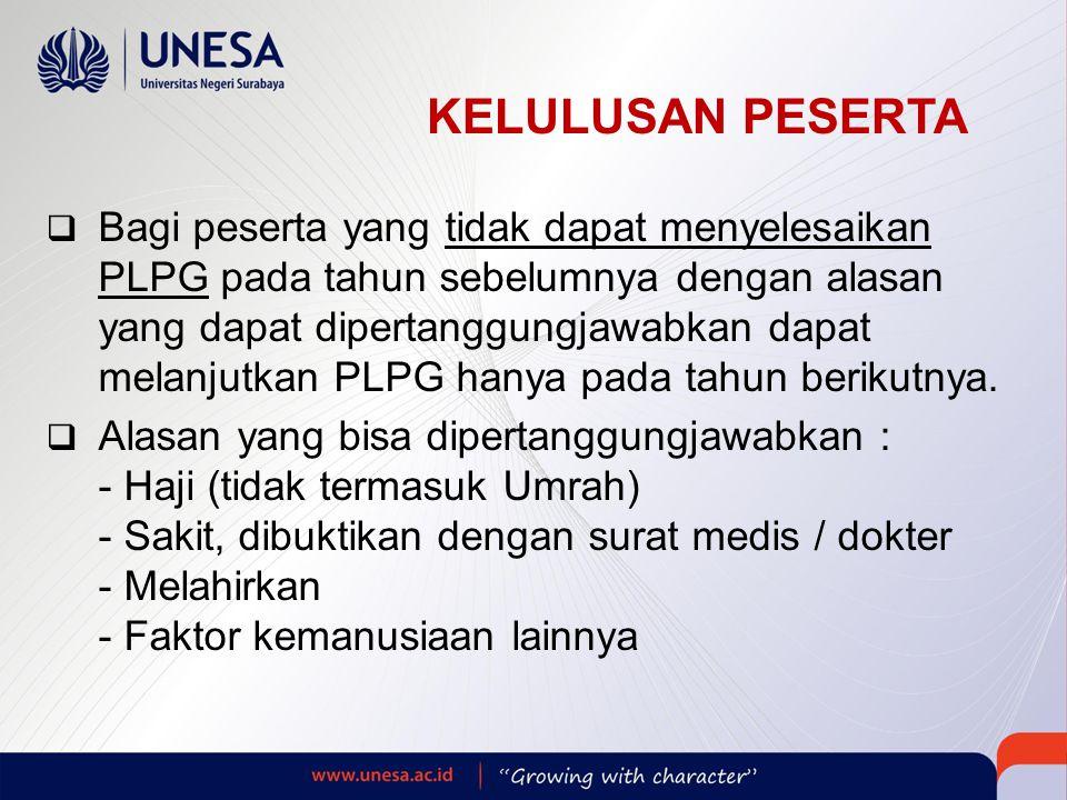 KELULUSAN PESERTA  Bagi peserta yang tidak dapat menyelesaikan PLPG pada tahun sebelumnya dengan alasan yang dapat dipertanggungjawabkan dapat melanjutkan PLPG hanya pada tahun berikutnya.