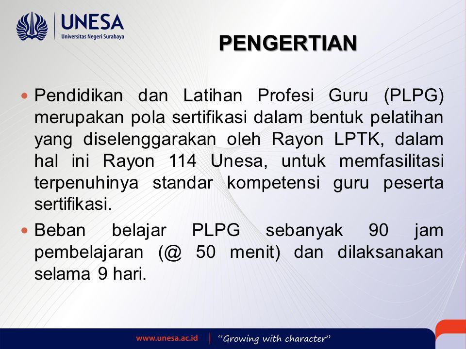 PENGERTIAN  Pendidikan dan Latihan Profesi Guru (PLPG) merupakan pola sertifikasi dalam bentuk pelatihan yang diselenggarakan oleh Rayon LPTK, dalam hal ini Rayon 114 Unesa, untuk memfasilitasi terpenuhinya standar kompetensi guru peserta sertifikasi.