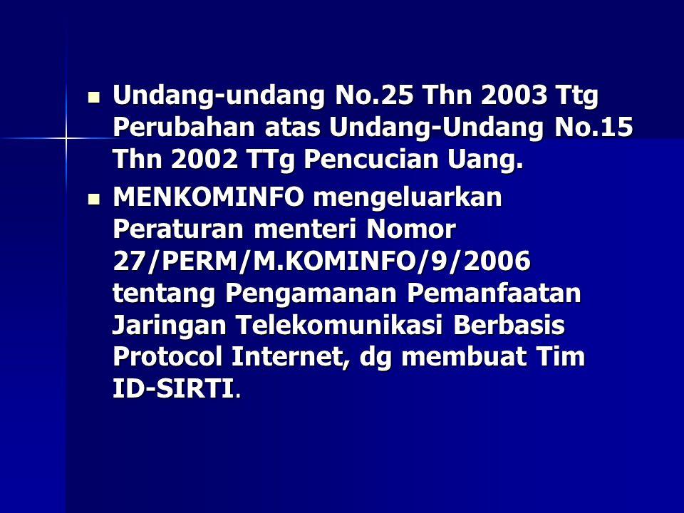  MENKOMINFO mengeluarkan Peraturan menteri Nomor 27/PERM/M.KOMINFO/9/2006 tentang Pengamanan Pemanfaatan Jaringan Telekomunikasi Berbasis Protocol Internet, dg membuat Tim ID-SIRTI.