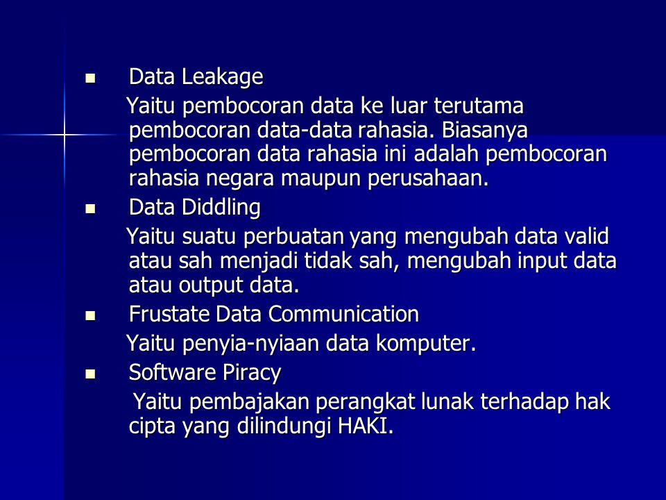  Data Leakage Yaitu pembocoran data ke luar terutama pembocoran data-data rahasia.