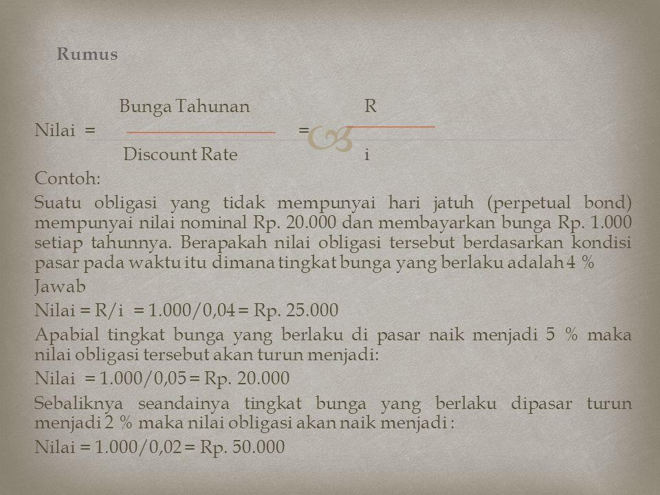  Bunga TahunanR Nilai = = Discount Ratei Contoh: Suatu obligasi yang tidak mempunyai hari jatuh (perpetual bond) mempunyai nilai nominal Rp. 20.000 d