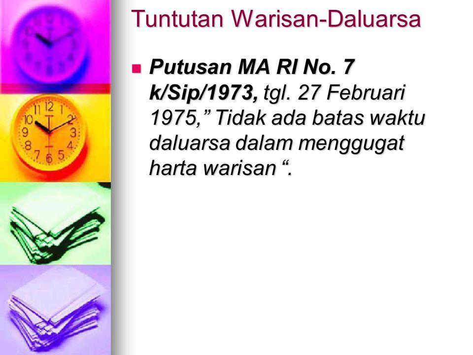 """Tuntutan Warisan-Daluarsa  Putusan MA RI No. 7 k/Sip/1973, tgl. 27 Februari 1975,"""" Tidak ada batas waktu daluarsa dalam menggugat harta warisan """"."""