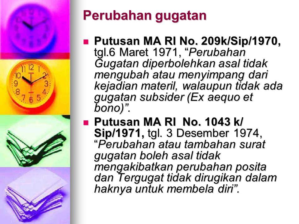"""Perubahan gugatan  Putusan MA RI No. 209k/Sip/1970, tgl.6 Maret 1971, """"Perubahan Gugatan diperbolehkan asal tidak mengubah atau menyimpang dari kejad"""