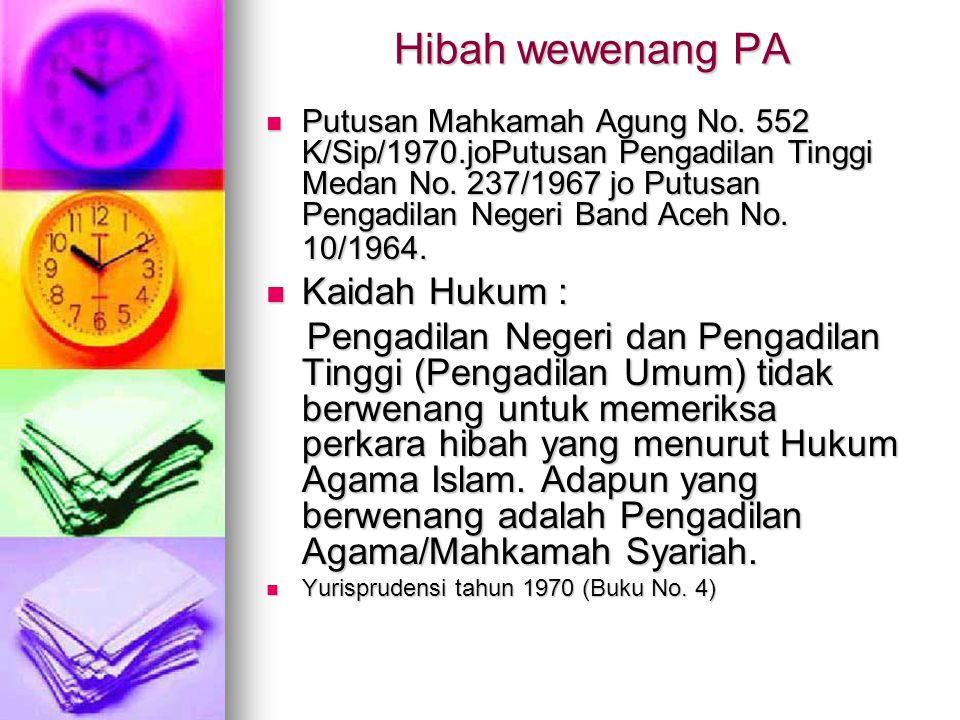 Hibah wewenang PA  Putusan Mahkamah Agung No. 552 K/Sip/1970.joPutusan Pengadilan Tinggi Medan No. 237/1967 jo Putusan Pengadilan Negeri Band Aceh No