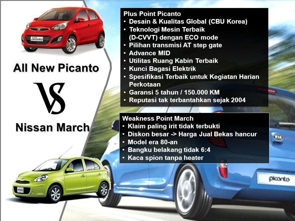 All New Picanto Nissan March Plus Point Picanto •Desain & Kualitas Global (CBU Korea) •Teknologi Mesin Terbaik (D-CVVT) dengan ECO mode •Pilihan trans
