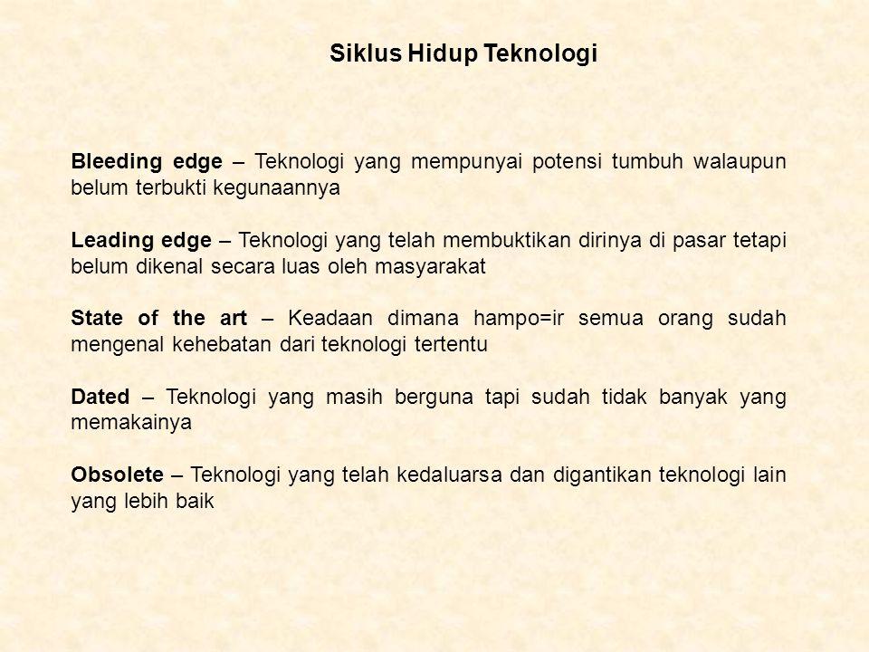 Siklus Hidup Teknologi Bleeding edge – Teknologi yang mempunyai potensi tumbuh walaupun belum terbukti kegunaannya Leading edge – Teknologi yang telah
