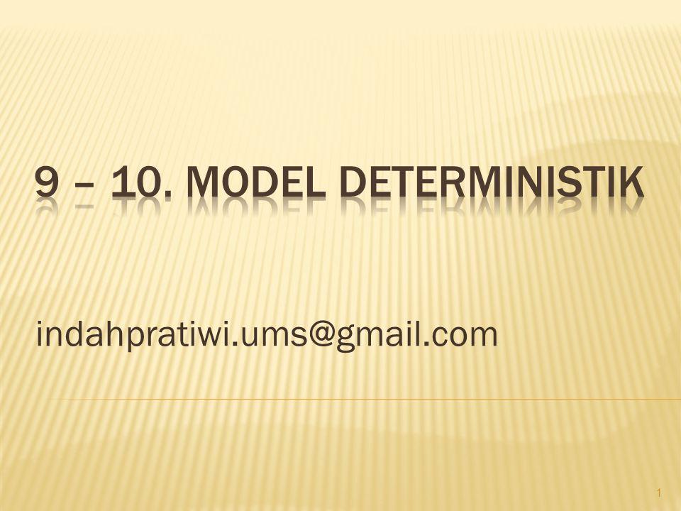 • Model Deterministik adalah model matematika dimana gejala-gejala dapat diukur dengan derajat kepastian yang cukup tinggi.