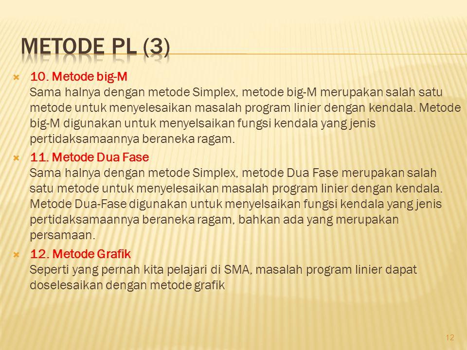  10. Metode big-M Sama halnya dengan metode Simplex, metode big-M merupakan salah satu metode untuk menyelesaikan masalah program linier dengan kenda