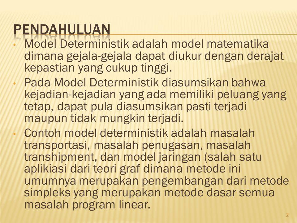 • Model Deterministik adalah model matematika dimana gejala-gejala dapat diukur dengan derajat kepastian yang cukup tinggi. • Pada Model Deterministik