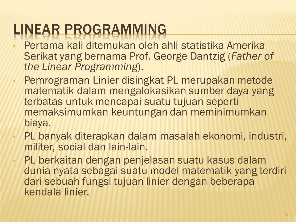 • Pertama kali ditemukan oleh ahli statistika Amerika Serikat yang bernama Prof. George Dantzig (Father of the Linear Programming). • Pemrograman Lini