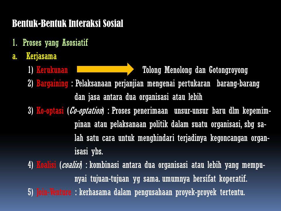 Bentuk-Bentuk Interaksi Sosial 1.Proses yang Asosiatif a.Kerjasama 1) Kerukunan Tolong Menolong dan Gotongroyong 2) Bargaining : Pelaksanaan perjanjia