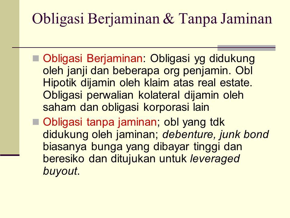Obligasi Berjaminan & Tanpa Jaminan  Obligasi Berjaminan: Obligasi yg didukung oleh janji dan beberapa org penjamin. Obl Hipotik dijamin oleh klaim a