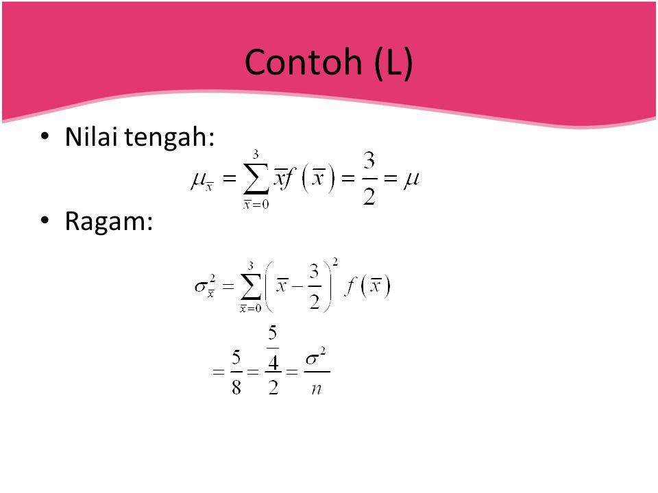 Contoh (L) • Nilai tengah: • Ragam: