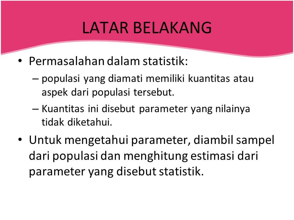 LATAR BELAKANG • Permasalahan dalam statistik: – populasi yang diamati memiliki kuantitas atau aspek dari populasi tersebut. – Kuantitas ini disebut p