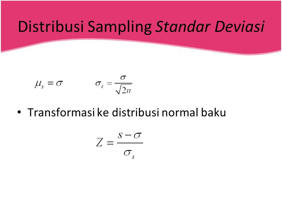 Distribusi Sampling Standar Deviasi • Transformasi ke distribusi normal baku