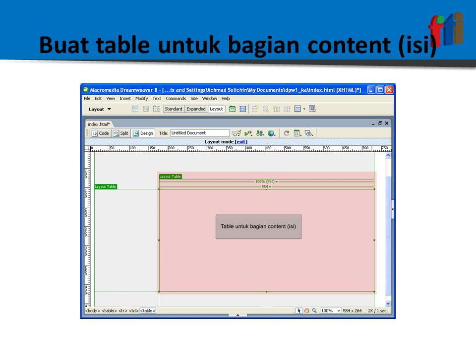Buat table untuk bagian content (isi)