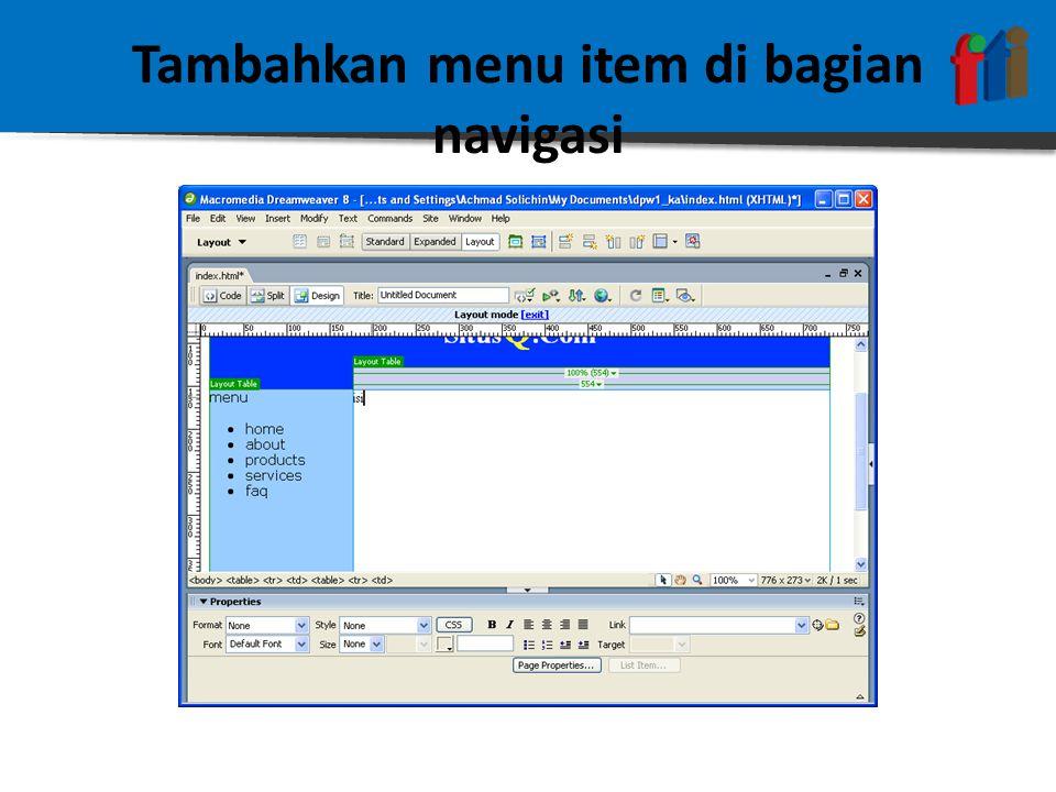 Tambahkan menu item di bagian navigasi