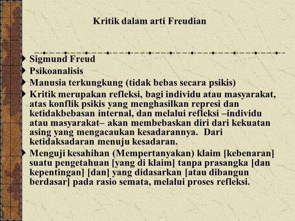  Sigmund Freud  Psikoanalisis  Manusia terkungkung (tidak bebas secara psikis)  Kritik merupakan refleksi, bagi individu atau masyarakat, atas konflik psikis yang menghasilkan represi dan ketidakbebasan internal, dan melalui refleksi –individu atau masyarakat– akan membebaskan diri dari kekuatan asing yang mengacaukan kesadarannya.