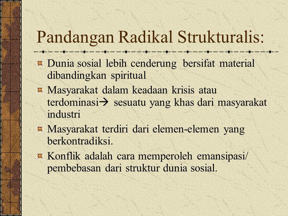 Pandangan Radikal Strukturalis: Dunia sosial lebih cenderung bersifat material dibandingkan spiritual Masyarakat dalam keadaan krisis atau terdominasi  sesuatu yang khas dari masyarakat industri Masyarakat terdiri dari elemen-elemen yang berkontradiksi.