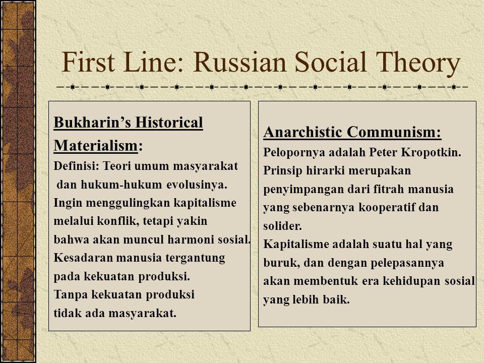 First Line: Russian Social Theory Bukharin's Historical Materialism: Definisi: Teori umum masyarakat dan hukum-hukum evolusinya.