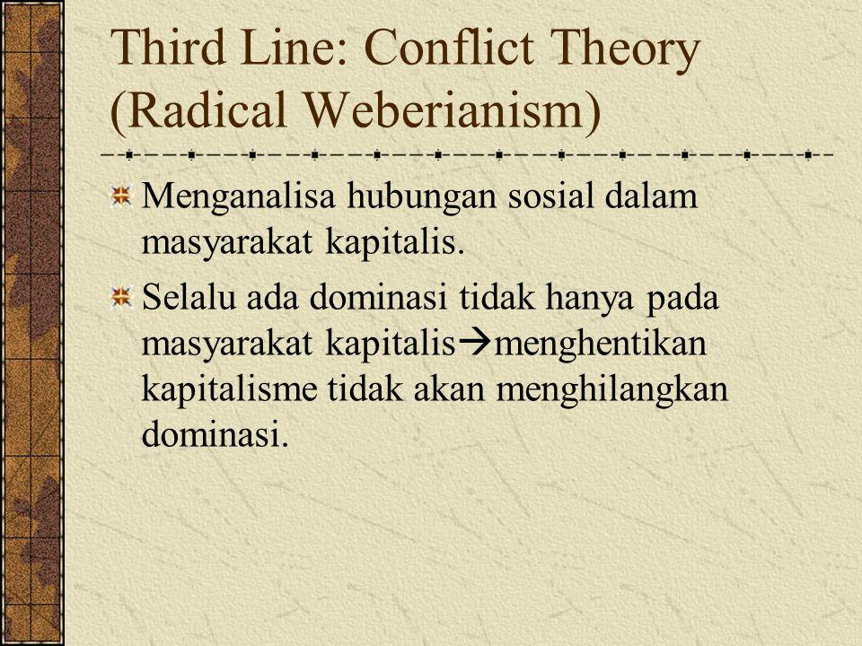 Third Line: Conflict Theory (Radical Weberianism) Menganalisa hubungan sosial dalam masyarakat kapitalis.