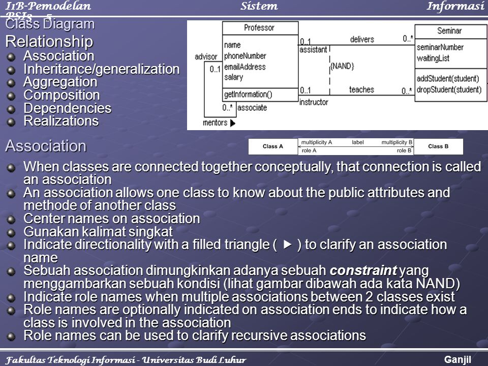 I1B-Pemodelan Sistem Informasi PSI3 - 5 Fakultas Teknologi Informasi - Universitas Budi Luhur Ganjil 2005/2006 RelationshipAssociationInheritance/generalizationAggregationCompositionDependenciesRealizations Class Diagram Association When classes are connected together conceptually, that connection is called an association An association allows one class to know about the public attributes and methode of another class Center names on association Gunakan kalimat singkat Indicate directionality with a filled triangle (  ) to clarify an association name Sebuah association dimungkinkan adanya sebuah constraint yang menggambarkan sebuah kondisi (lihat gambar dibawah ada kata NAND) Indicate role names when multiple associations between 2 classes exist Role names are optionally indicated on association ends to indicate how a class is involved in the association Role names can be used to clarify recursive associations